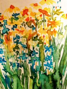 Yellow Susies and Blue Cornflowers by Theo